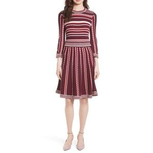 Kate Spade scallop stripe knit fit & flare dress